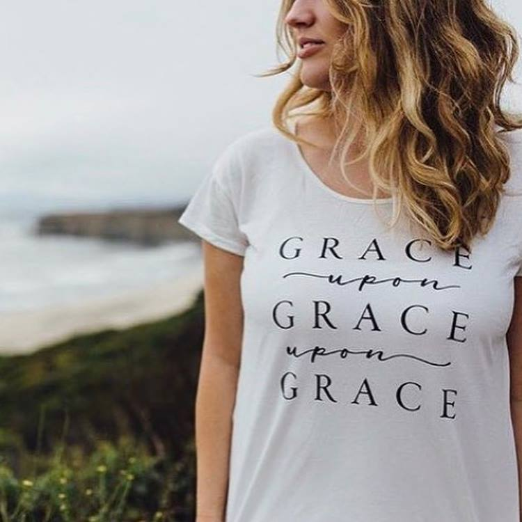 Grace Upon Grace Ladies Tee - White