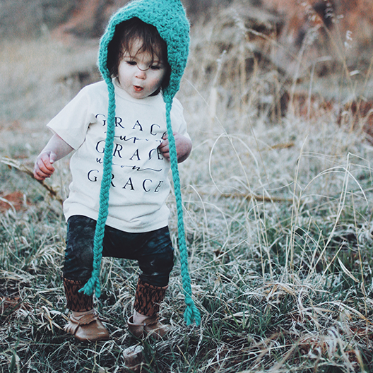 Grace Upon Grace Upon Grace Ivory Kids Tee