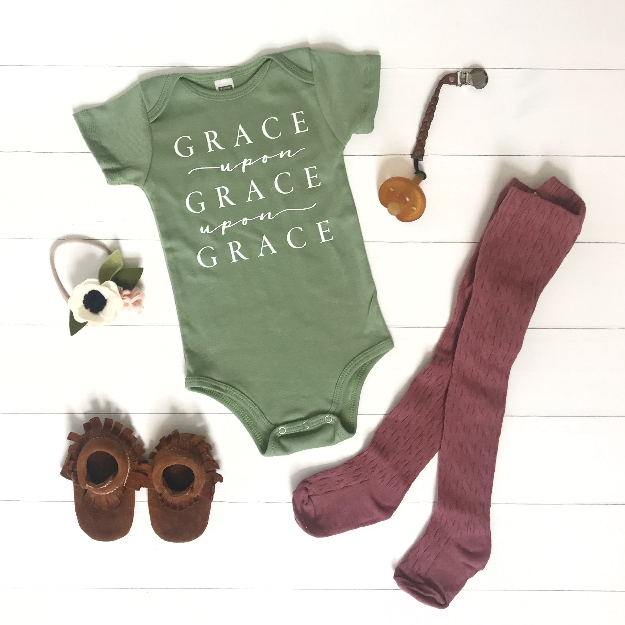 Grace Upon Grace Upon Grace Green Organic Onesie