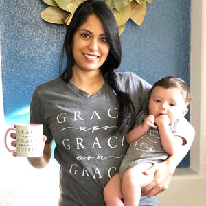 Grace Upon Grace Unisex Grey Vneck