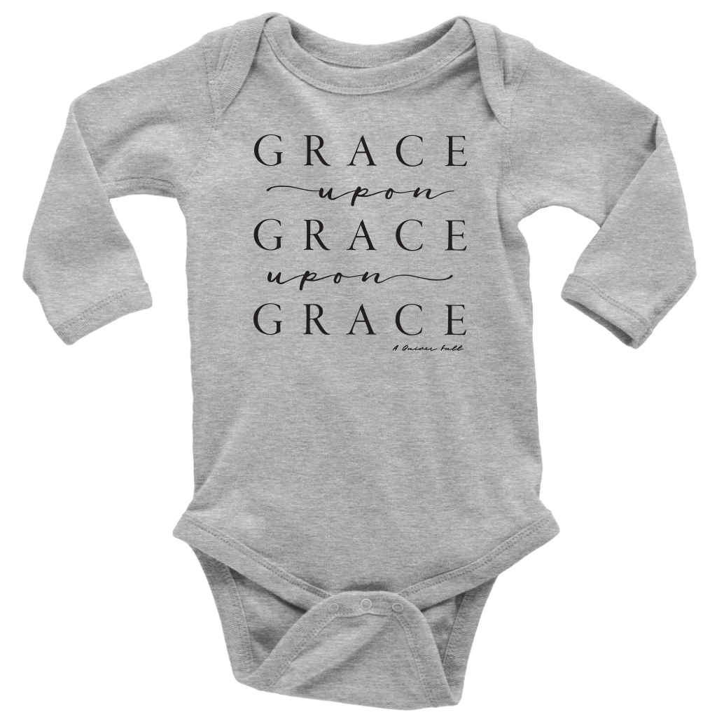 Grace Upon Grace Long Sleeve Onesie - white, grey
