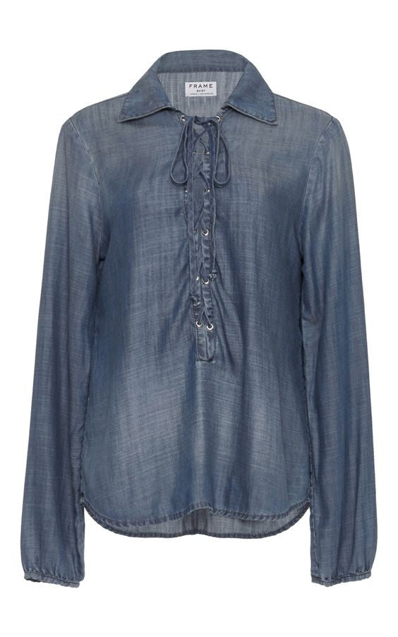Frame Denim Le Lace-Up Chambray Blouse