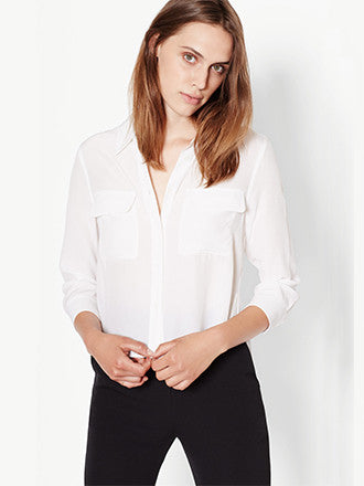 Equipment | Cropped 3/4 Sleeve Signature Silk Shirt in Bright White