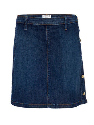 Frame Denim Antibes Side-Button Denim Straight Skirt