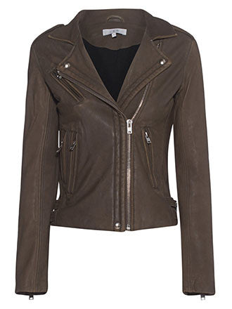 Iro Han leather biker jacket Khaki