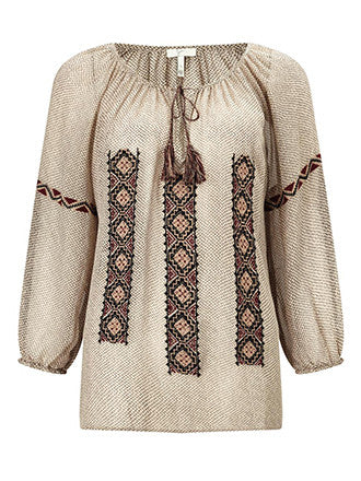 Joie | Wavebreak Silk Embroidered Peasant Blouse