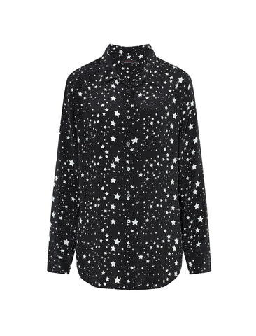 Kate Moss for Equipment | 'Slim Signature Clean' star print silk shirt