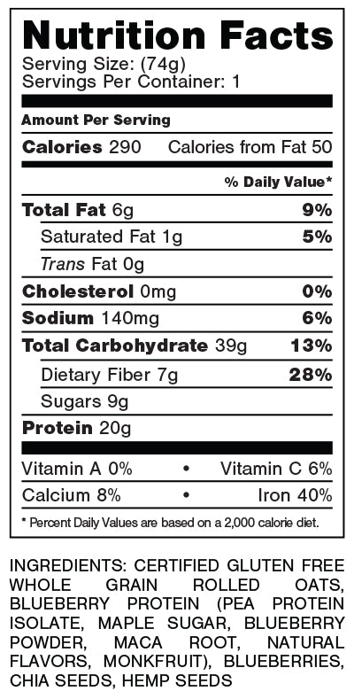 Nutrition label for Blueberry Cobbler flavour