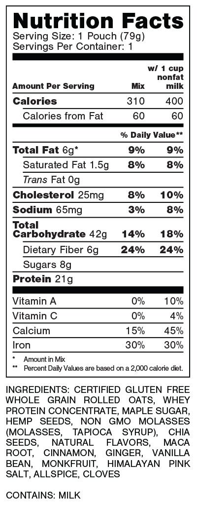 Oats Overnight Gingerbread Nutrition Facts