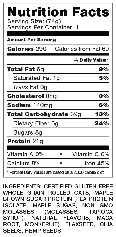 Nutrition label for Maple Pancakes flavour