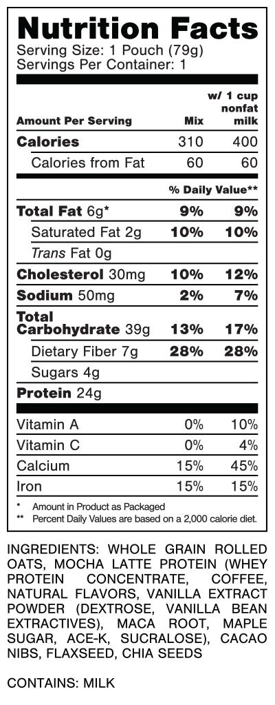 Oats Overnight Mocha Dream Nutrition Facts