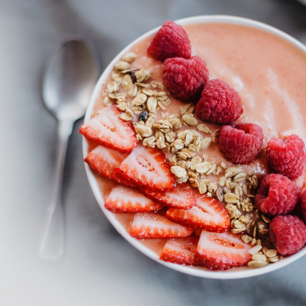 oats and raspberries in a bowl