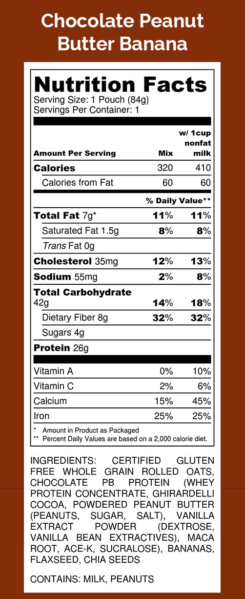 Oats Overnight Chocolate Peanut Butter Banana Nutrition Facts