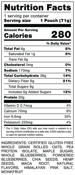 Oats Overnight Blueberry Cobbler Nutrition Facts