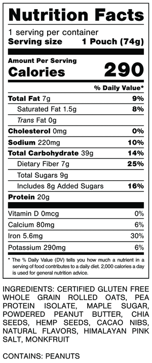Oats Overnight Peanut Butter Cookie Dough Cacao Crunch Nutrition Facts