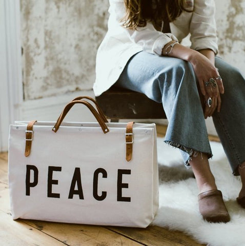 PEACE Canvas Utility Tote