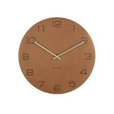 Karlsson Vigorous Brown Leather Wall Clock