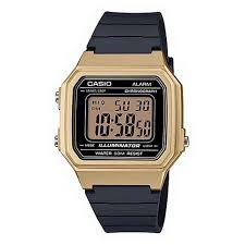 Casio Digital Gold Case, Black Resin Band Watch