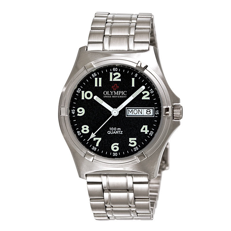 Gents Olympic Work Watch Black Full Fig
