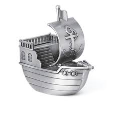 Pewter Pirate Ship Money Box