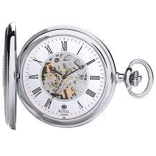 Silver Coloured Case Royal London Mechanical Pocket Watch