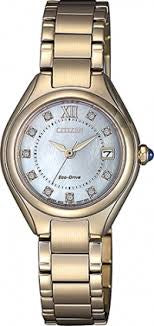 Ladies Rose Gold Citizen Watch with blue crown detail