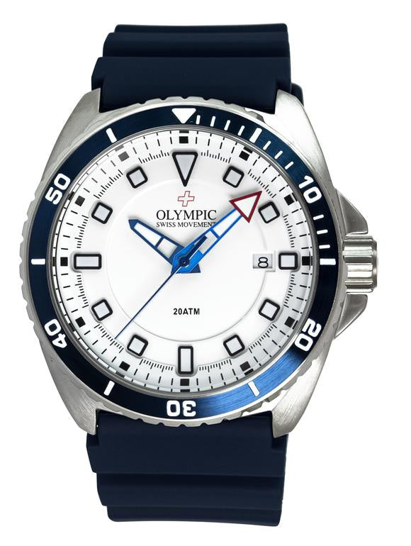 Olympic Aquanaut Stainless Steel Blue/White Divers Watch 200m