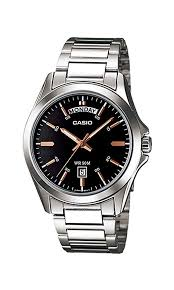 Casio Stainless Steel Casio watch with Day indicator Black Dial Watch
