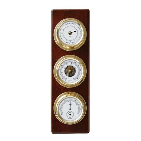 Mahogany Brass Tide Clock Weather Station