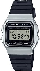 Casio Retro Silver and Black Digital Watch