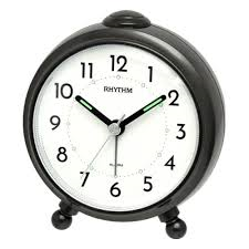 Rhythm Black Alarm Clock With Feet