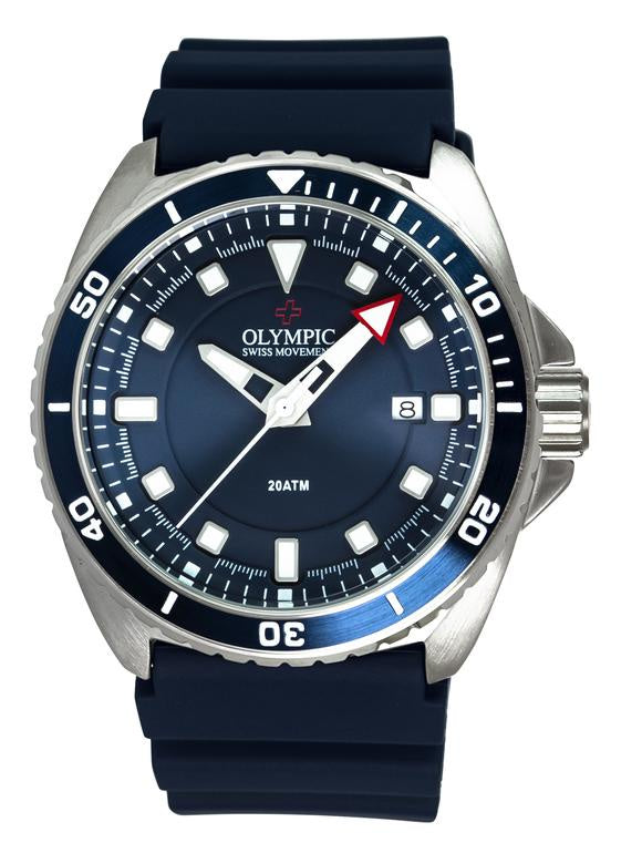 Olympic Aquanaut Stainless Steel Blue Divers Watch 200m