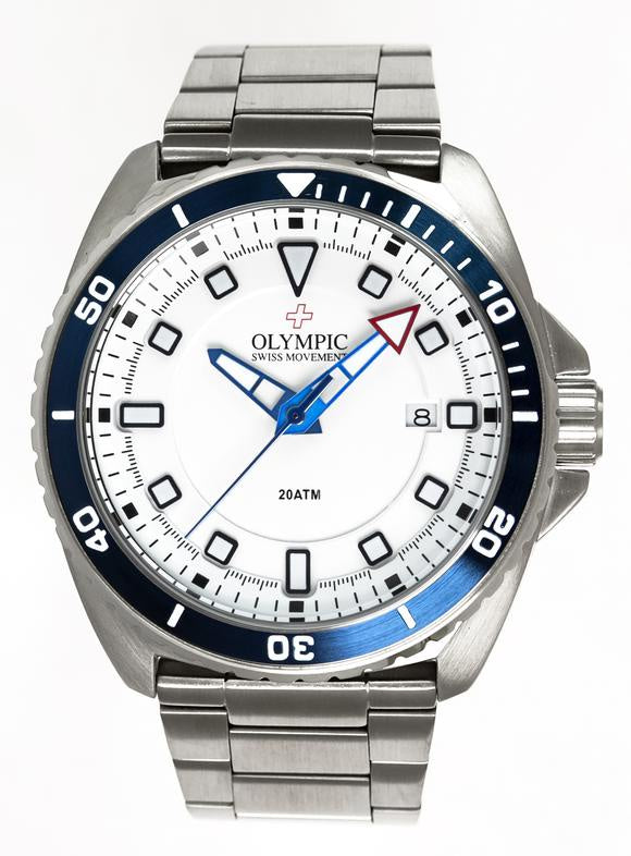 Olympic Aquanaut Stainless Steel Blue/White Metal Band Watch 200m