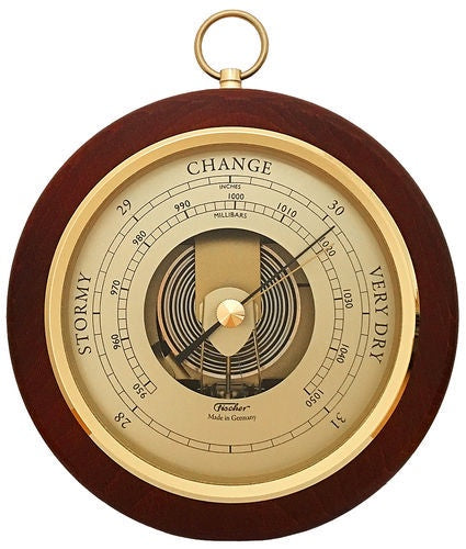Walnut Colour, Brass Dial, Barometer 130mm