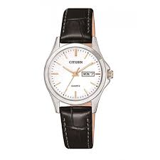 Ladies Stainless Steel Citizen Watch Black Leather Strap