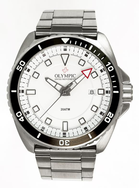 Olympic Aquanaut Stainless Steel White Dial Metal Band Divers Watch 200m