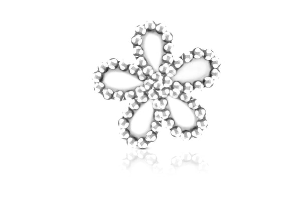Nail Charm - Silver Flowers