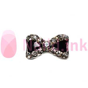 Nail Charm Bow - Black Sparkle
