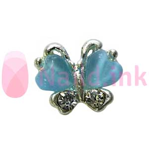 Nail Charm Butterfly - Silver / Blue