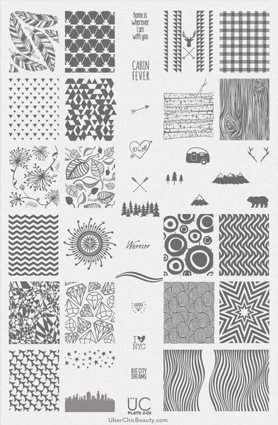 UberChic Nail Stamping Plates - Collection 2 (Set of 3)