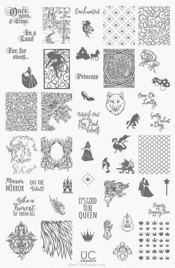 UberChic Nail Stamping Plate - Fairytale-01