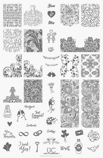 UberChic Nail Stamping Plate - Love and Marriage-01