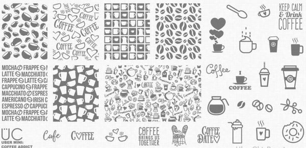 UberChic MINI Nail Stamping Plate - Coffee Addict