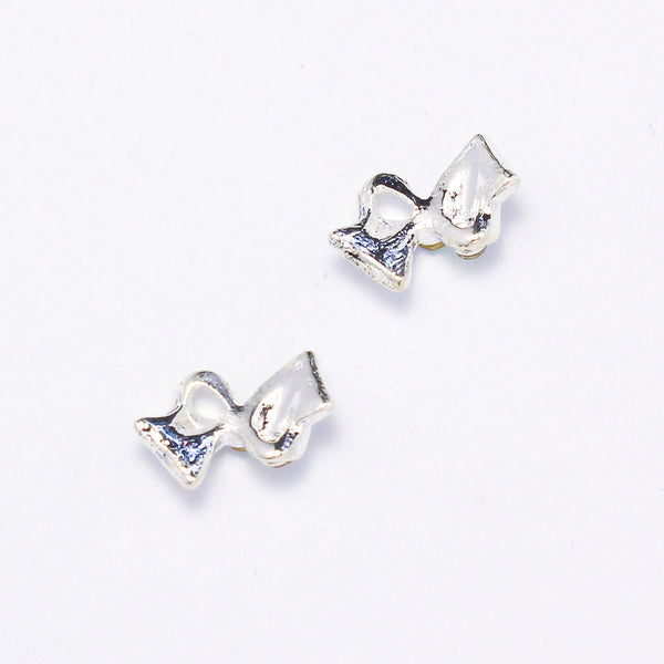 Nail Charm Fancy Bow - White