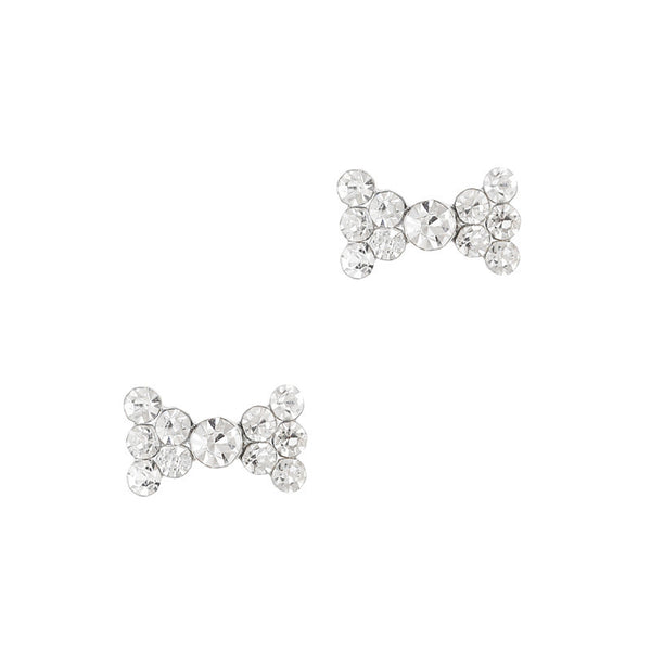 Nail Charm Simple Rhinestone Bow - Clear Crystal