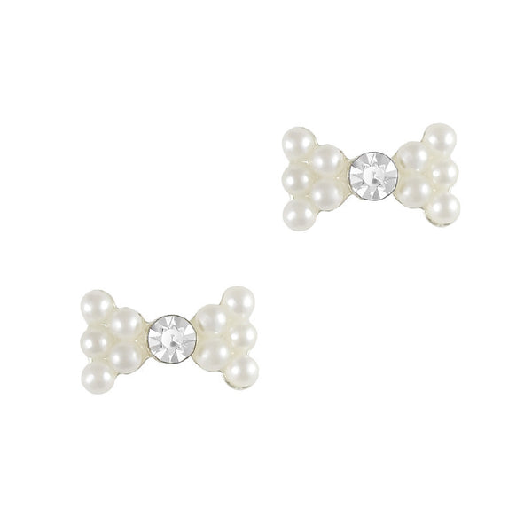 Nail Charm Simple Rhinestone Bow - Pearl