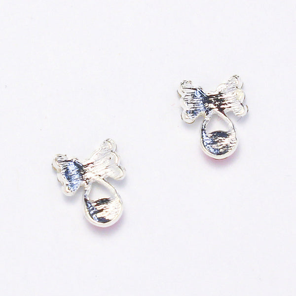 Nail Charm Bow With Droplet - Silver