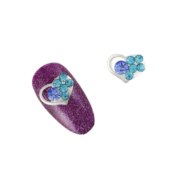 Nail Charm Heart - Blue Crystal