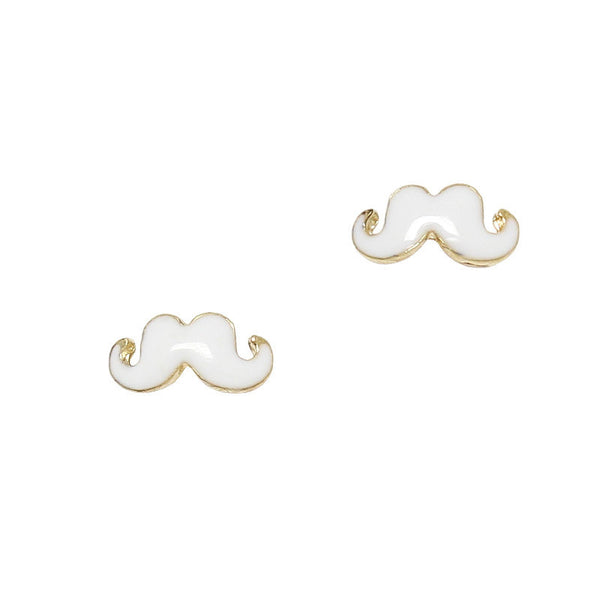 Nail Charm Moustache - Gold / White