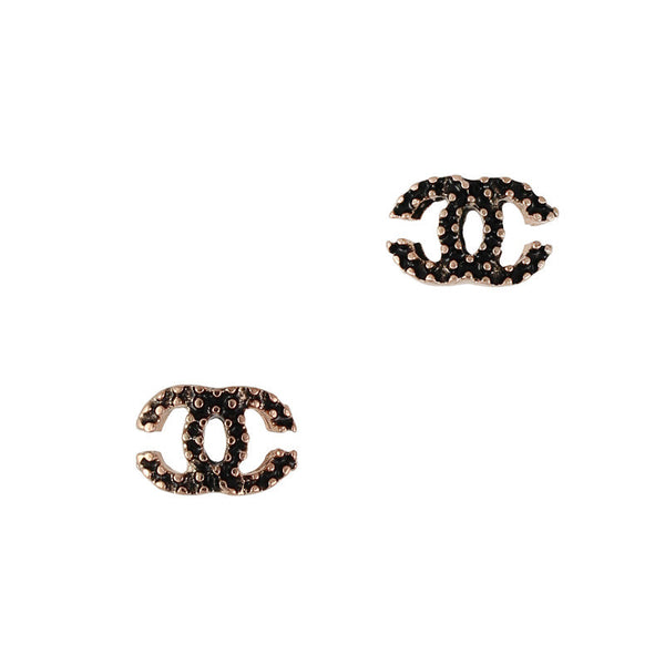 Nail Charm Coco Chanel Studded - Black / Gold